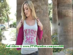 Julia sexy blonde teenage flashing boobs in a public place