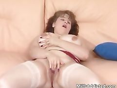 Cute brunette MILF with huge tits plays part6