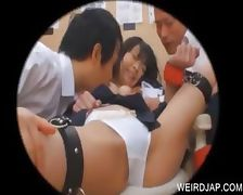 Two horny duds stripping a teen asian slave