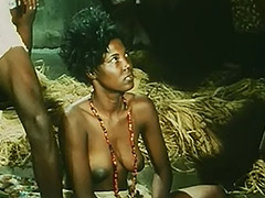 Topless African Girl Doing a Tribal Dance 1970
