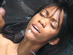 Ebony Couple in a Dark Room Fucking on an Ebony Leather Couch and Girl's Ebony Pussy is Hairy porn video