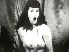 Brunette Beauty Dances in Lingerie 1950