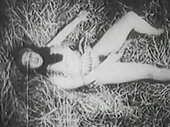 Awesome Babe Masturbating in the Barn 1930