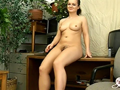 Slavic Teen with Hairy Pussy Fur Masturbates Her Cunt Sucks on Dick and gets a Nice Fuck