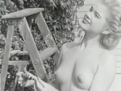 Nudist Girl Feels Good Naked in Garden 1950 porn video