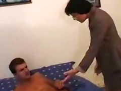 Grandma Wakes Up Young Man For Anal Action