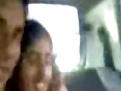 Young Punjabi lovers kissing and enjoying naked in car