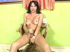 Big tits shemale jerks off solo