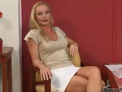 Horny blonde girl undresses and poses for camera at the casting porn video