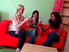Three naked teens masturbate on couch