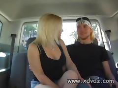 Blonde Girl Sammie Spades Has A Nice Time In The Back Of A Van Giving Blowjob
