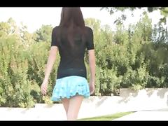 Teen babe is doing really dirty stuff on public outdoors