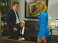Vicious Blonde Office Sluts Suck and Fuck Their Boss' Cock In a 3some