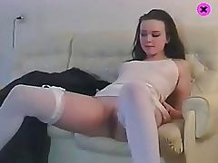 Russian Teen Plays With her Tight Pussy in White Lingerie