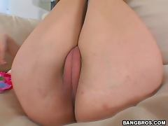 Amber Shows Her Cameltoe Before Riding A Big Cock
