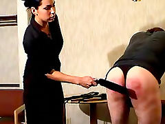 Painful spanking for sub male
