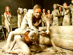 Group of mud wrestling babes