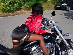 Biker, Biker, Brunette, Clothed, Glamour, Masturbation