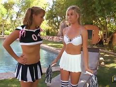 Sweet lesbian scene with real cheerleaders