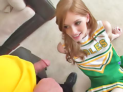 Hot girl in green skirt gets crucified