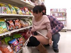 Kinky Asian Chick Nana Nanaumi Blowjobs in the Supermarket