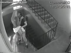 Couple uses Staircase for an Emergency Fuck