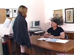 Old Cock Fucks This Cute Blonde Teen's Ass In His Office