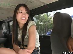 Gorgeous Asian Babe Fucked by a Big Cock in Van in Reality Porn