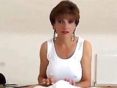Heart Stopping Brunette Mature With Big Jugs Gives Spectacular Handjob