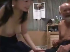 Schoolgirl In Skirt Getting Her Hairy Pussy Fucked By Old Man Creampie On The Mattress
