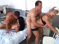 Hospital room hardcore group sex scene