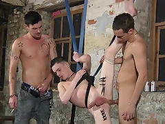 Gay twink tied to get fucked hard