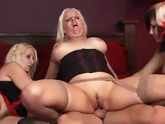 Two smoking hot blonds are getting fucked while the third one fingers herself