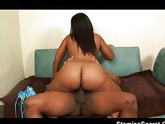 Ebony Thalia juicy booty bounces on cock