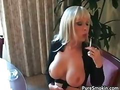 Weird blond chick Layla Jade smokes part2