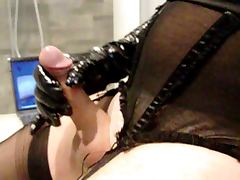nylon gloves cock and cum