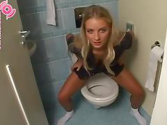 Beautiful Girl Taking A Piss In The Toilet