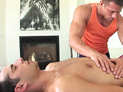 Leed Scott is making hot massage with blowjob