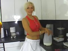 POV Deepthroat Blowjob on the Kitchen Floor by Short Haired Blonde Summer Nite