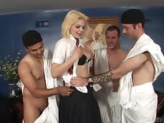 Blonde hottie Alice Frost sucks and rides three guys' cocks