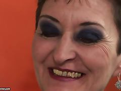 Amazing Blowjob and Hardcore Action with Short Haired Brunette Granny