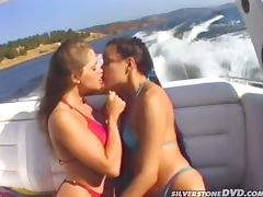 Sensual Lesbian Babes Having Sex on Boat while Guy Looks