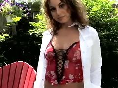 Exclusive strip show in the garden with Sofia Deleon