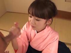 Teen Asuka Hoshino in kimono sucking a cock expertly
