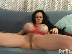 Sofia Staks shows her gigantic tits and gets her hairy pussy pounded