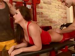 Sphincter stretching Double Penetration Fuck for Brunette Slut