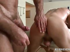 Blonde hot guy taking gay shaft in his tight ass hole