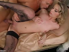 Shaved Pussy, Couple, Hardcore, Stockings, Shaved Pussy