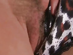 Girls Out West Blonde rubs her hairy pussy