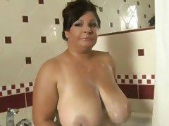 Big mature in shower